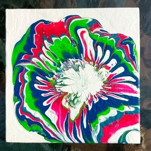 Original painting abstract flower bright colors!